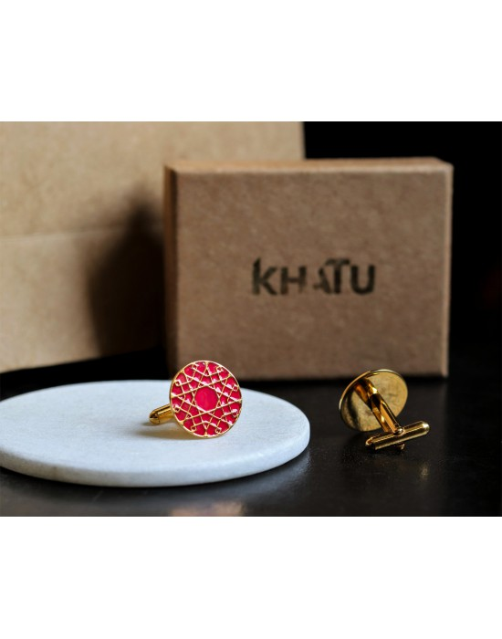 Pink Gold Jaali Cufflinks