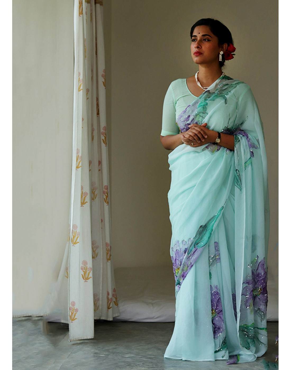 Floral Butterfly Sari