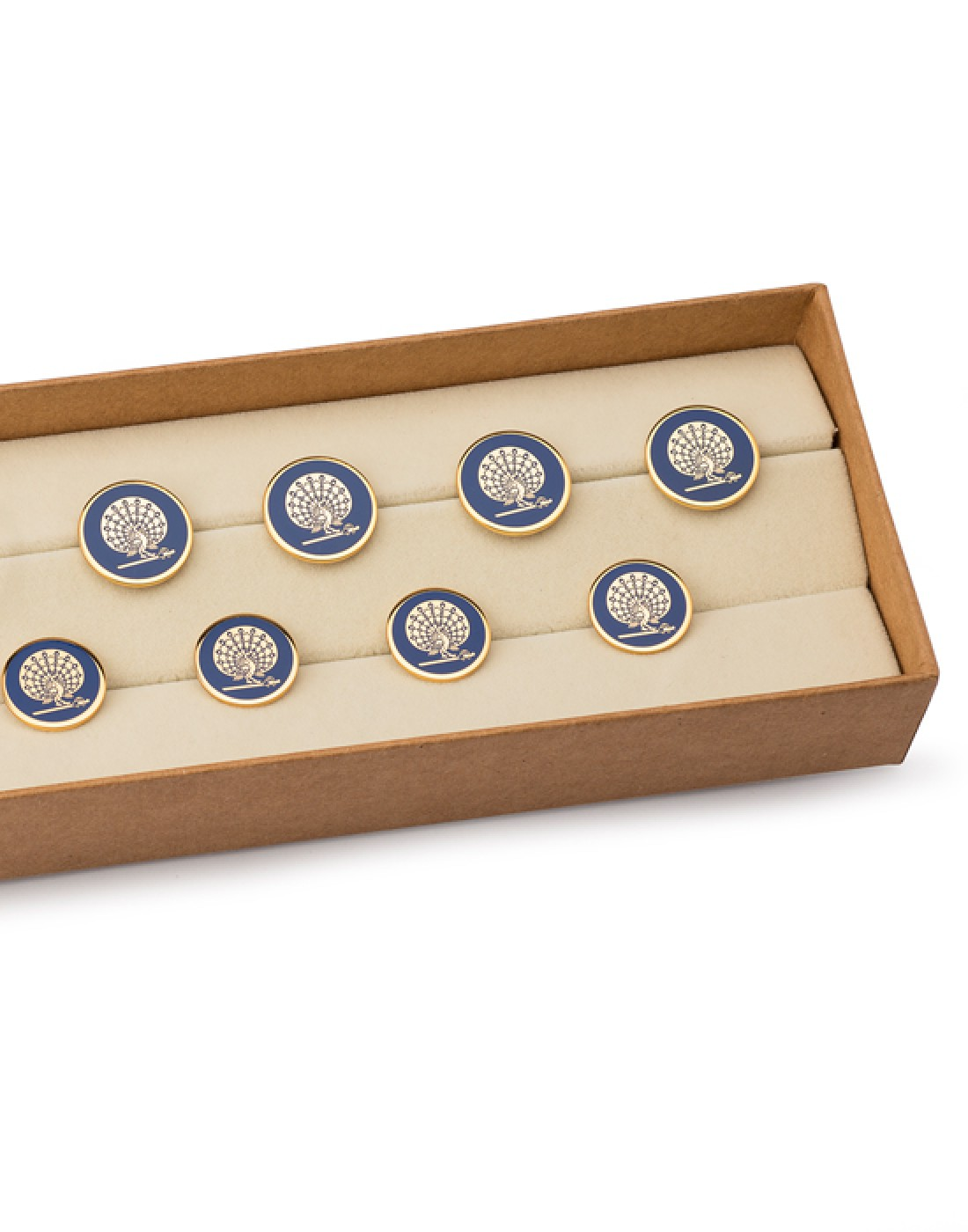 Mayo Blue  Peacock Buttons Set of 13