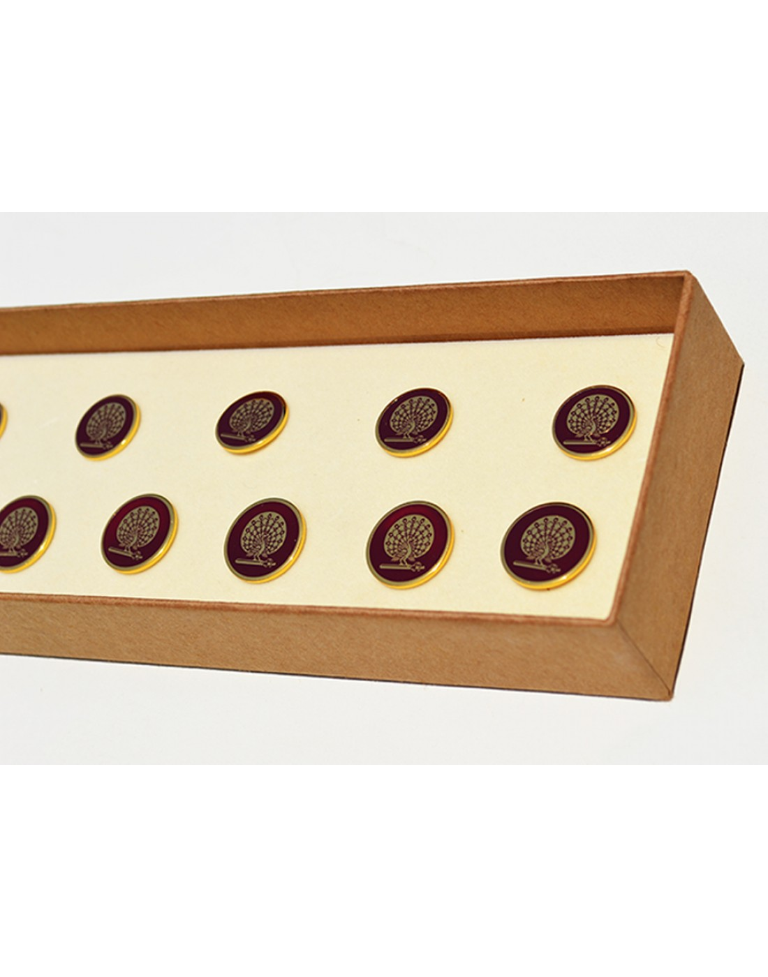 Mayo Maroon Peacock Buttons Set of 13